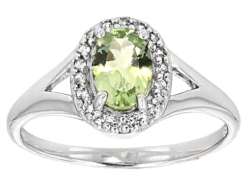 Photo of .51ct Oval Green Amblygonite With .10ctw Round White Zircon Sterling Silver Ring - Size 8