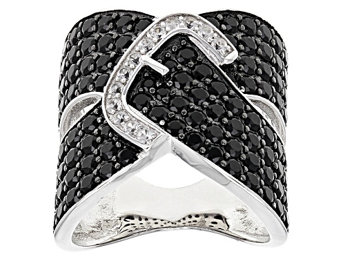 Photo of 4.14ctw Round Black Spinel With .32ctw Round White Zircon Sterling Silver Buckle Ring - Size 5