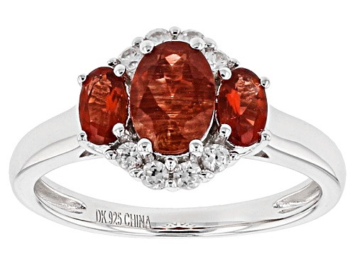 Photo of .93ctw Oval Red Labradorite And .54ctw Round White Zircon Sterling Silver 3-Stone Ring - Size 7