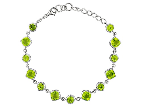 Photo of 10.62ctw Square Cushion And Round Manchurian Peridot™ Sterling Silver Adjustable Bracelet - Size 8
