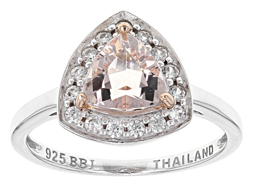 Photo of .76ct Trillion Morganite With .26ctw Round White Zircon Sterling Silver Ring - Size 8