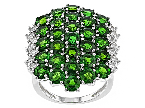 Photo of 8.99ctw Round Russian Chrome Diopside With .66ctw White Zircon Sterling Silver Ring - Size 5