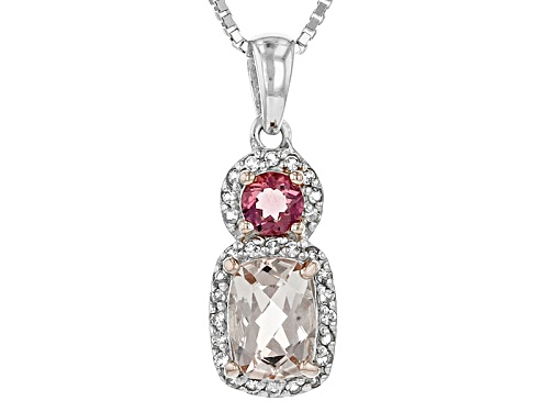 Photo of .68ct Morganite, .15ct Lab Created Bixbite, .11ctw White Topaz Sterling Silver Pendant With Chain