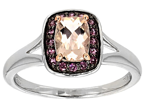 Photo of .68ct Rectangular Cushion Morganite With .09ctw Round Raspberry Rhodolite Sterling Silver Ring - Size 11