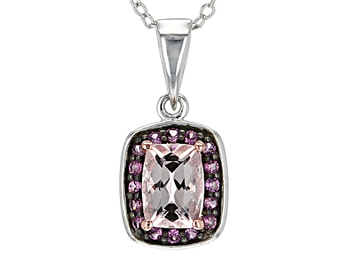 Photo of .68ct Rectangular Cushion Morganite With .09ctw Round Raspberry Rhodolite Silver Pendant With Chain