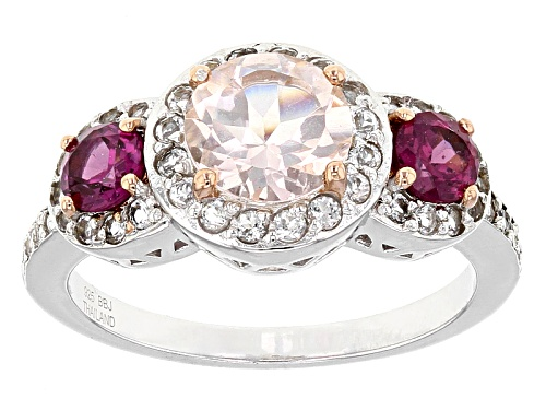 Photo of .85ct Round Morganite, .56ctw Round Raspberry Rhodolite, .40ctw Round White Topaz Silver Ring - Size 10