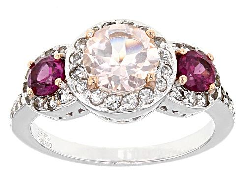 Photo of .85ct Round Morganite, .56ctw Round Raspberry Rhodolite, .40ctw Round White Topaz Silver Ring - Size 7