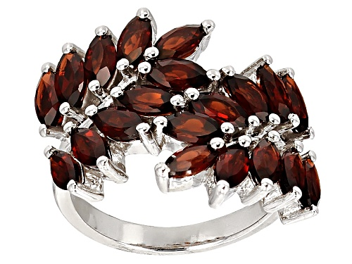Photo of 3.80ctw Marquise Vermelho Garnet™ Rhodium Over Sterling Silver Bypass Ring - Size 8