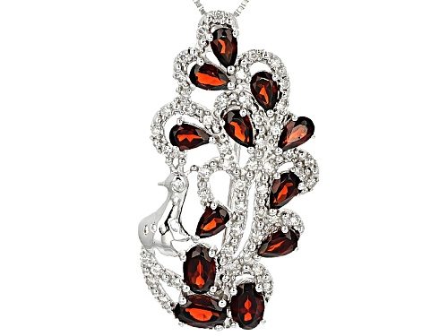 Photo of 3.78ctw Vermelho Garnet™ With .38ctw White Zircon Silver Peacock Brooch/Pendant With Chain