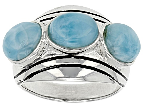 Photo of 8x6mm Oval Larimar Sterling Silver 3-Stone Ring - Size 6