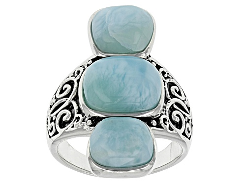 Photo of 10x8mm Rectangular Cushion And 8x7mm Fancy Cabochon Larimar Sterling Silver 3-Stone Ring - Size 5