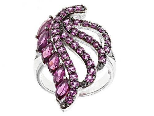 Photo of 3.21ctw Marquise And Round Raspberry color Rhodolite Sterling Silver Leaf Design Ring - Size 5