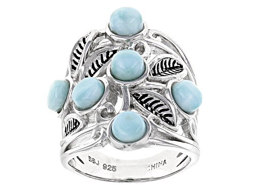 Photo of 5mm Round Blue Larimar Sterling Silver 6-Stone Leaf Detail Ring - Size 6