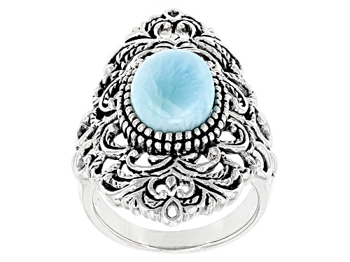 Photo of 12x8mm Oval Cabochon Larimar Sterling Silver Solitaire Ring - Size 5