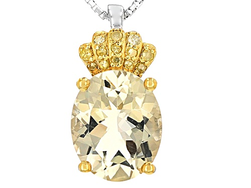 Photo of 2.55ct Oval Mexican Yellow Labradorite And .06ctw Round Yellow Diamond Accent Silver Pendant W/Chain