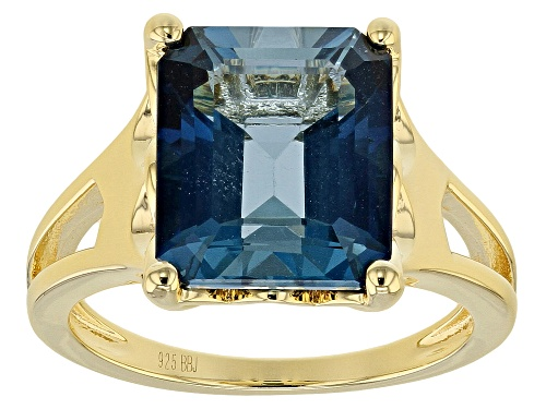 Photo of 6.37ct Emerald Cut London Blue Topaz 18k Gold Over Sterling Silver Solitaire Ring - Size 8