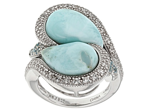 14x10mm Pear Shape Larimar, .16ctw Round Swiss Blue Topaz And .63ctw Round White Zircon Silver Ring - Size 8