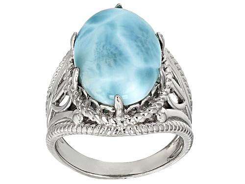 Photo of 16x12mm Oval Cabochon Larimar Sterling Silver Solitaire Ring - Size 11
