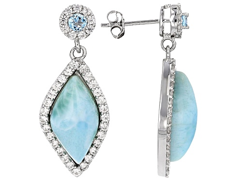 Photo of 18x9mm Marquise Larimar, .23ctw Round Swiss Blue Topaz, 1.14ctw Round White Zircon Silver Earrings