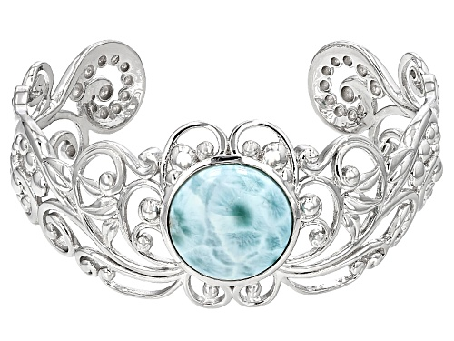 Photo of 20mm Round Cabochon Larimar Sterling Silver Cuff Bracelet - Size 8