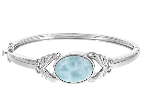 20x15mm Oval Cabochon Larimar Sterling Silver Solitaire Hinged Bangle Bracelet - Size 8
