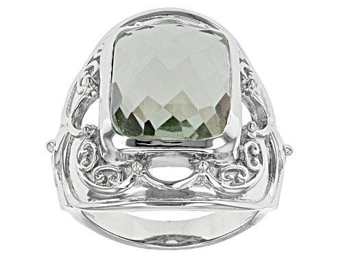 Photo of 8.75ct Rectangular Cushion Criss-Cross Cut Brazilian Prasiolite Sterling Silver Ring - Size 6