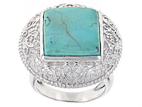 Photo of 14mm Square Cabochon Blue Turquoise Sterling Silver Solitaire Ring - Size 6