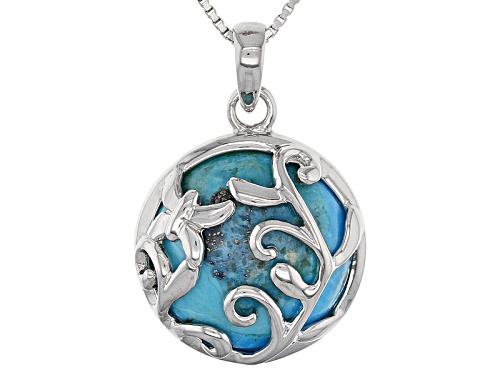 Photo of 15mm Round Cabochon Turquoise Sterling Silver Solitaire Pendant With Chain