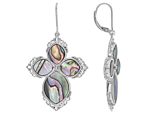 Photo of 16x12mm And 10x8mm Marquise Abalone Shell Sterling Silver Cross Earrings