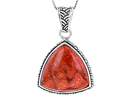 Photo of 20mm Trillion Red Sponge Coral Solitaire Sterling Silver Pendant With Chain