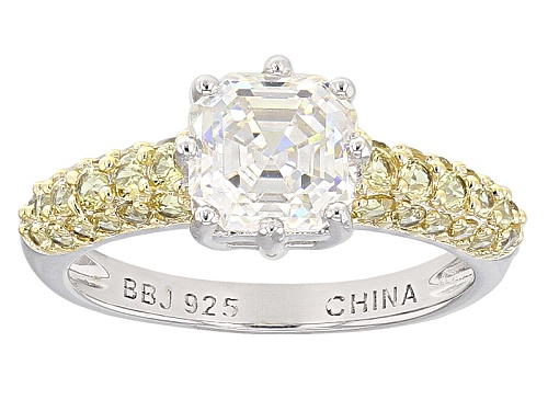 Photo of 2.41ct Asscher Cut Lab Created Strontium Titanate And .92ctw Yellow Sapphire Sterling Silver Ring - Size 12