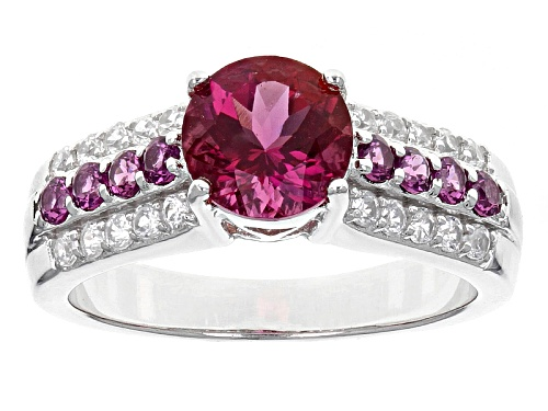 Photo of .96ct Round Lab Created Bixbite, .32ctw Round Raspberry Rhodolite, .35ctw White Zircon Silver Ring - Size 8