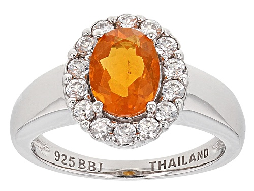 Photo of .68ct Oval Mexican Fire Opal With .70ctw Round White Zircon Sterling Silver Ring - Size 9