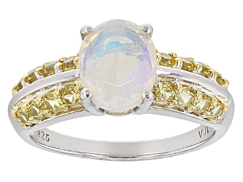 Photo of .77ct Oval Ethiopian Opal With .61ctw Round Yellow Sapphire Sterling Silver Ring - Size 6