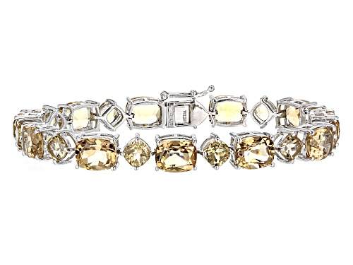 Photo of 46.60ctw Rectangular Cushion And Square Cushion Champagne Quartz Sterling Silver Bracelet - Size 8