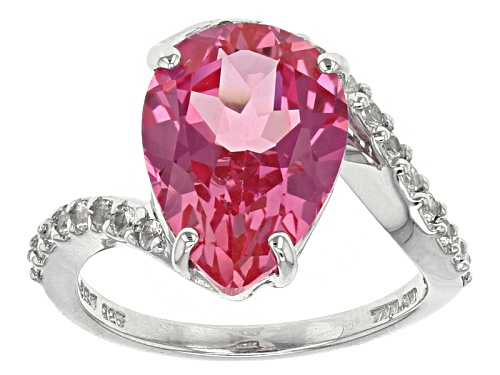5.66ct Pear Shape Lab Created Pink Sapphire With .32ctw Round White Topaz Sterling Silver Ring - Size 8