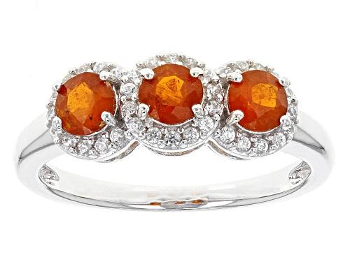 Photo of .82ctw Round Orange Kyanite With .21ctw Round White Zircon Sterling Silver 3-Stone Ring - Size 12