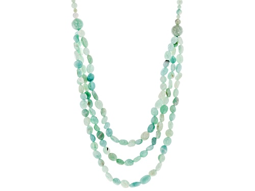 Photo of 4-12mm Round and 8x7mm Oval Nugget Amazonite Bead Sterling Silver Necklace - Size 25