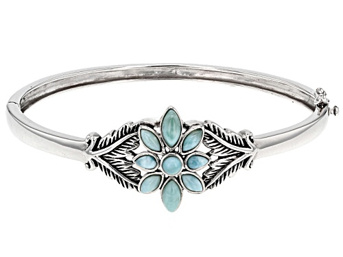 Marquise and Round Cabochon Larimar Flower Sterling Silver Hinged Bangle Bracelet - Size 7.25