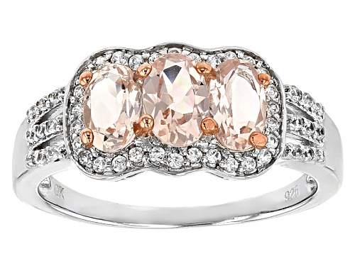 Photo of .94ctw Oval Pink Morganite With .30ctw Round White Zircon Rhodium Over Sterling Silver Ring - Size 11