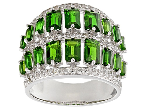 Photo of 2.96CTW BAGUETTE RUSSIAN CHROME DIOPSIDE WITH .55CTW ROUND ZIRCON STERLING SILVER BAND RING - Size 6