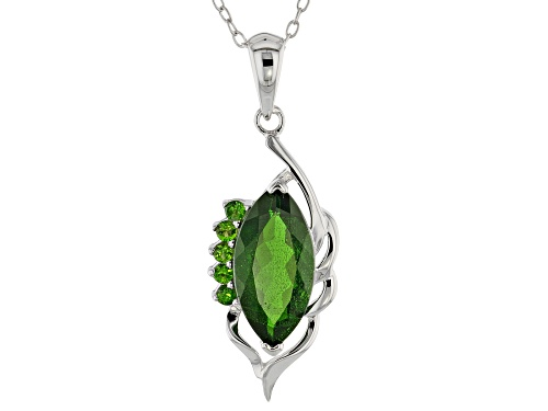 Photo of 2.71CTW MIXED SHAPE RUSSIAN CHROME DIOPSIDE STERLING SILVER PENDANT WITH CHAIN
