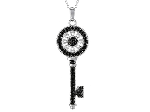 "Photo of .52ctw Round Black Spinel Sterling Silver ""Key"" Pendant With Chain"