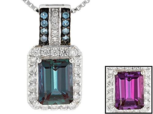 Photo of 1.75CT LAB ALEXANDRITE, .06CTW LAB BLUE SPINEL AND .38CTW WHITE ZIRCON SILVER PENDANT WITH CHAIN