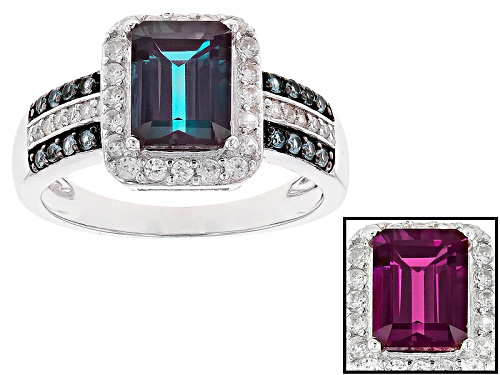 Photo of 1.75CT EMERALD CUT LAB ALEXANDRITE WITH .12CTW LAB BLUE SPINEL AND .41CTW WHITE ZIRCON SILVER RING - Size 11