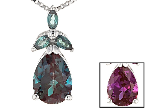 Photo of 2.13CTW PEAR SHAPE AND MARQUISE LAB CREATED ALEXANDRITE STERLING SILVER SLIDE WITH CHAIN