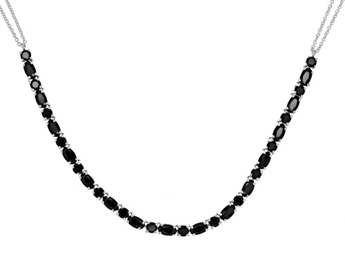 Photo of 5.22ctw Round and Oval Black Spinel Sterling Silver  Necklace - Size 18