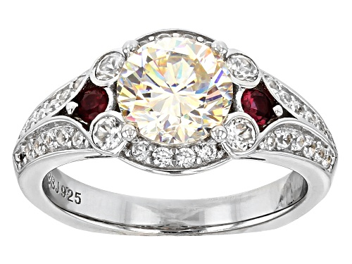 Photo of 2.12CT FABULITE STRONTIUM TITANATE WITH .14CTW RED SPINEL AND .76CTW WHITE ZIRCON SILVER RING - Size 11