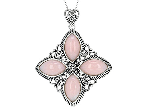 Photo of 16x9mm Marquise Cabochon Peruvian Pink Opal Sterling Silver 4-Stone Pendant With Chain
