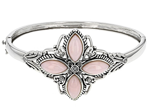 Photo of 14x7mm Marquise Cabochon Peruvian Pink Opal Sterling Silver 4-Stone Hinged Bangle Bracelet - Size 8
